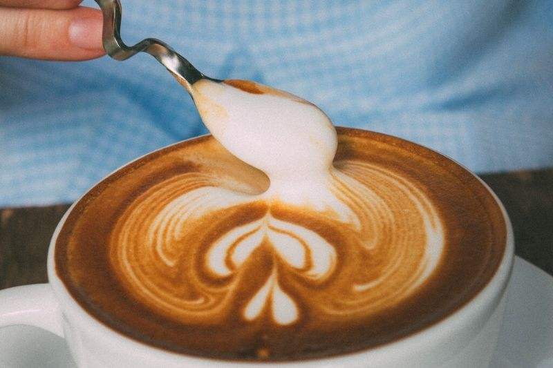 preparation of latte art using a special stick